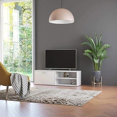 UnfadeMemory Mueble para TV,Soporte del Televisor,con 1 Puerta y 2 Compartimentos,Moderno y Práctico,Madera Aglomerada,120x34x37cm (Blanco): Amazon.es: Hogar