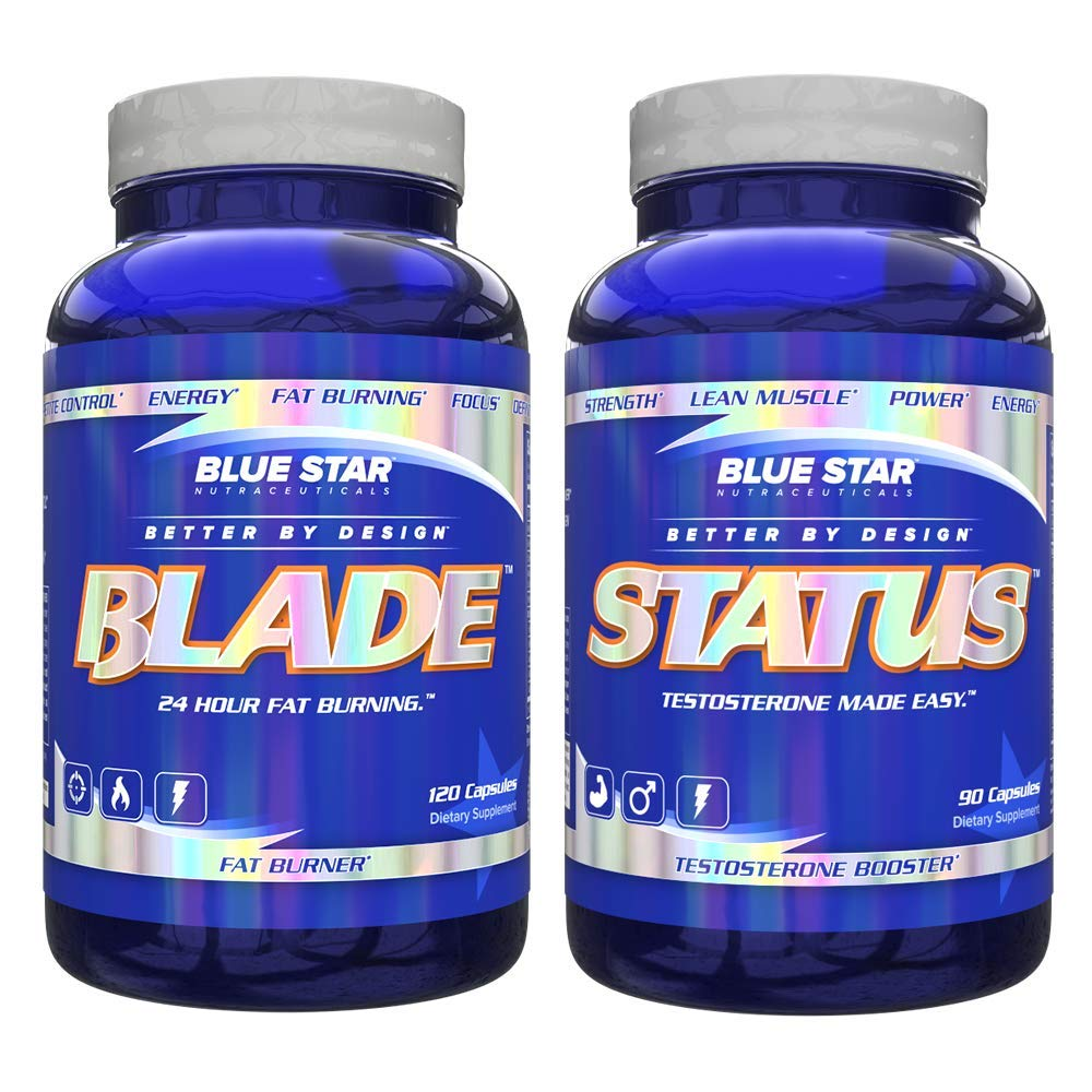 Blue Star Blade and Status Bundle for Men: Strongest Metabolism Booster Weight Loss Supplement and Testosterone Booster Pills to Support Weight Loss, Lean Muscle Mass and Strength Gains by Blue Star Nutraceuticals