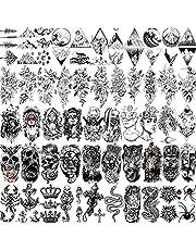 Shegazzi 52 Sheets Black Skull Temporary Tattoos For Men Women Arm Neck Tatoos, 3D Realistic Small Rose Flowers Fake Tattoos Temporary, Waterproof Mountain Snake Lion Tiger Temp Tattoo Sticker Adults