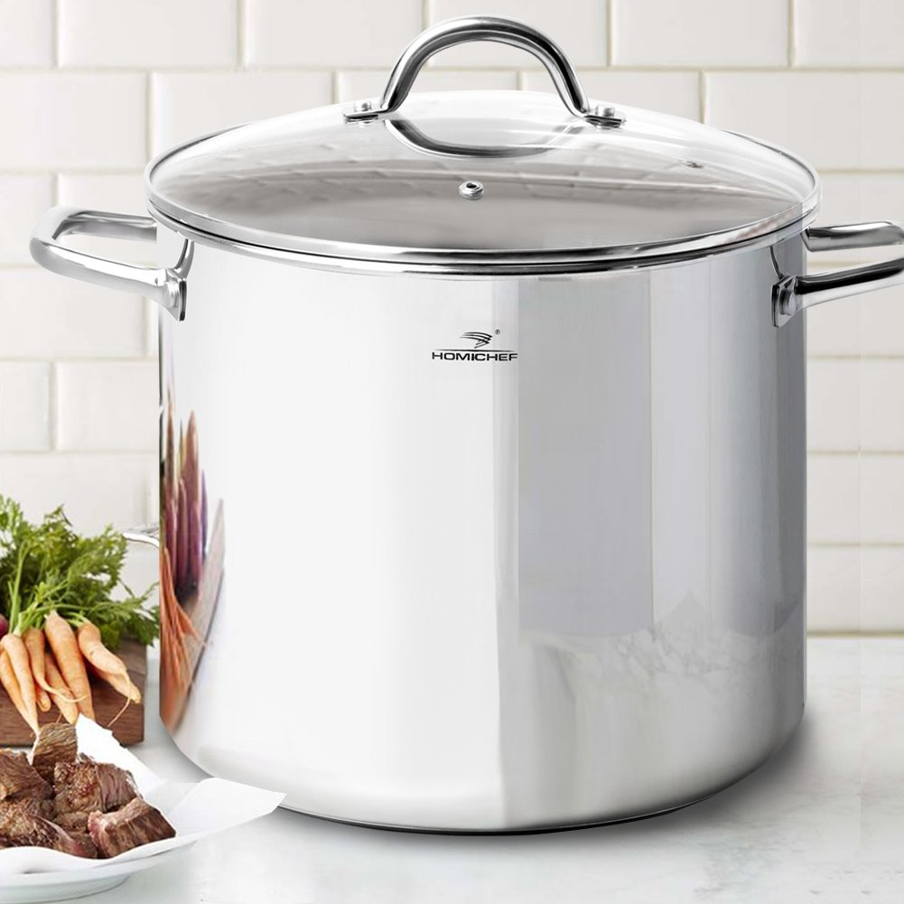 HOMI CHEF LARGE HEAVY ECOLOGICAL NICKEL FREE Stainless Steel Stock Pot 8qt w//Lid Induction Pot 8 Quart Cooking Pot Stew Pot 4 Soup Pot Dutch Oven Pot Casserole No Toxic Non Stick Coating, 5.1LBS