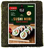 Organic Sushi Nori Seaweed Sheets | Premium Roasted Seaweed | 50 Sheets for Sushi Making | 100% Natural Preservative-free Kosher Certified | Dried Sushi-Grade Korean | By Best of Thailand