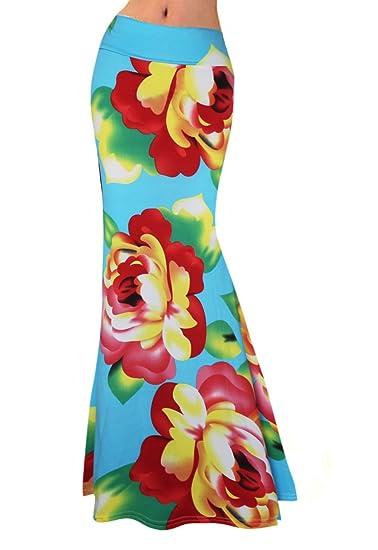 Falda Mujer Larga Cintura Alta Slim Fit Elegantes Moda Vintage Hippie Boho Etnico Estampado Flores Casual