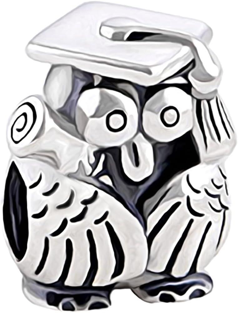 /Argent Sterling 925 Charm en forme de hibou avec chapeau universitaire et dipl/ôme/
