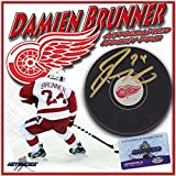 "DAMIEN BRUNNER Signed DETROIT RED WINGS Puck w/COA ""NEW"" #2 - Autographed NHL Pucks"