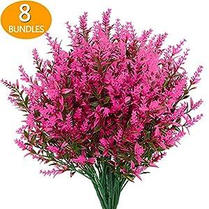 GREENRAIN 8 Bundles Artificial Lavender Flowers Outdoor Fake Flowers for Decoration UV Resistant No Fade Faux Plastic Plants Garden Porch Window Box Décor (Pink)