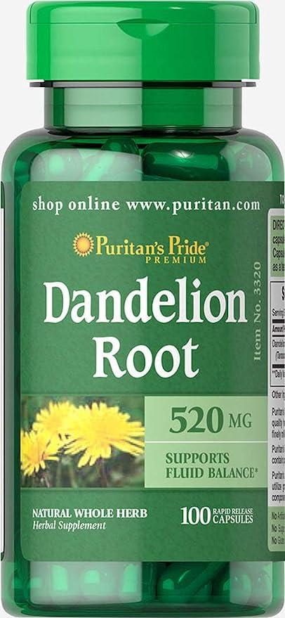 Raiz diente de leon 520 mg.Dandelion root 100 capsulas. 1 und.