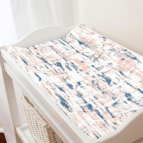 - Carousel Designs Denim and Peach Birch Changing Pad Cover - Organic 100% Cotton Change Pad Cover - Made in The USA