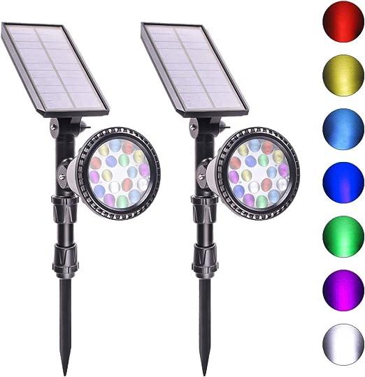 MYUANGO Luces Solares Exterior,7 Colores Foco Solar 18LED,Impermeables IP65,Lámpara Solar para Jardín,Patio,Garaje y Terraza,2 Piezas: Amazon.es: Iluminación
