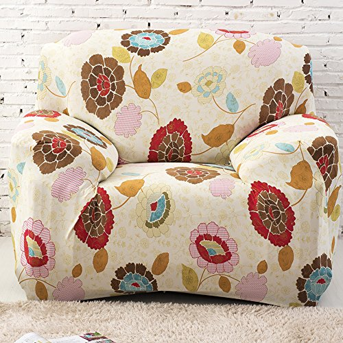 yazi Sunflower Washable Elastic Sofa Cover 1/2/3 Seater Couch Stretch Sette Slipcover, One Seater (Sette Furniture)