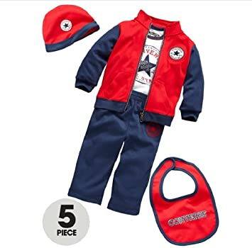 Converse Baby Boy 5 Piece Tracksuit, T shirt, Hat and Bib