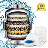 Shower Filter, HOMEWINES 10-Stage Universal Shower Head Water Filter with activated carbon 2 Cartridges for Hard Water, Removing Chlorine Fluoride Heavy Metal, All Types of Shower (10-stage)