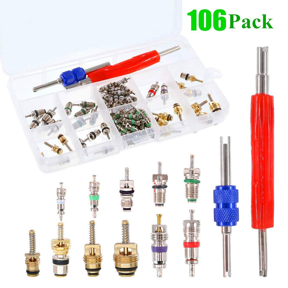 39PCS Air Conditioning Valve Core A//C R12 R134a Refrigeration Tire Valve Stem Cores Remover tool