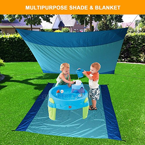 [Pack of 10] Sand Proof Beach Picnic Blanket of Parachute Nylon, works as Shade Tarp Sheet for your Sandless travel escape perfect for drying towel not a black microfiber waterproof or resistant mat by Spencer&Webb (Image #2)