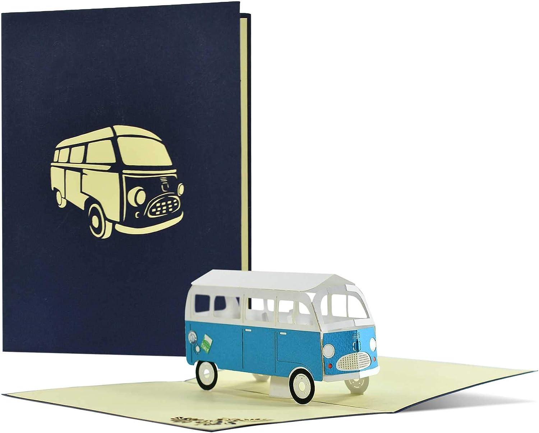 Tarjeta de felicitación con autobús I tarjeta de cumpleaños o carnet de viaje I regalar un viaje corto, viajes de ciudad, viajes de fin de semana o camping Trip I 3D Pop Up Camper Van, H24