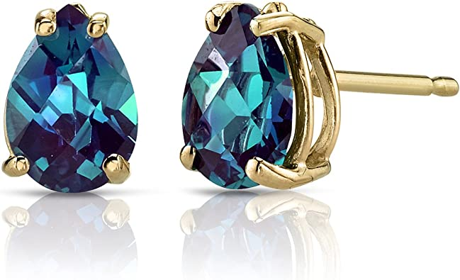 Created Alexandrite Round Stud Earrings 14Kt Yellow Gold /& Sterling Silver