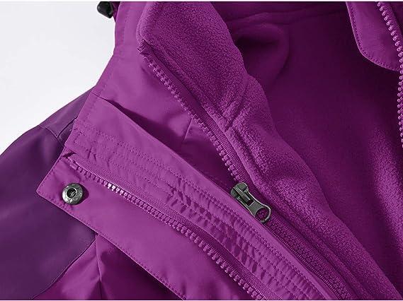forro polar con cremallera completa a prueba de viento Donhobo 3 en 1 impermeable Chaqueta de esqu/í para mujer bolsillos con cremallera