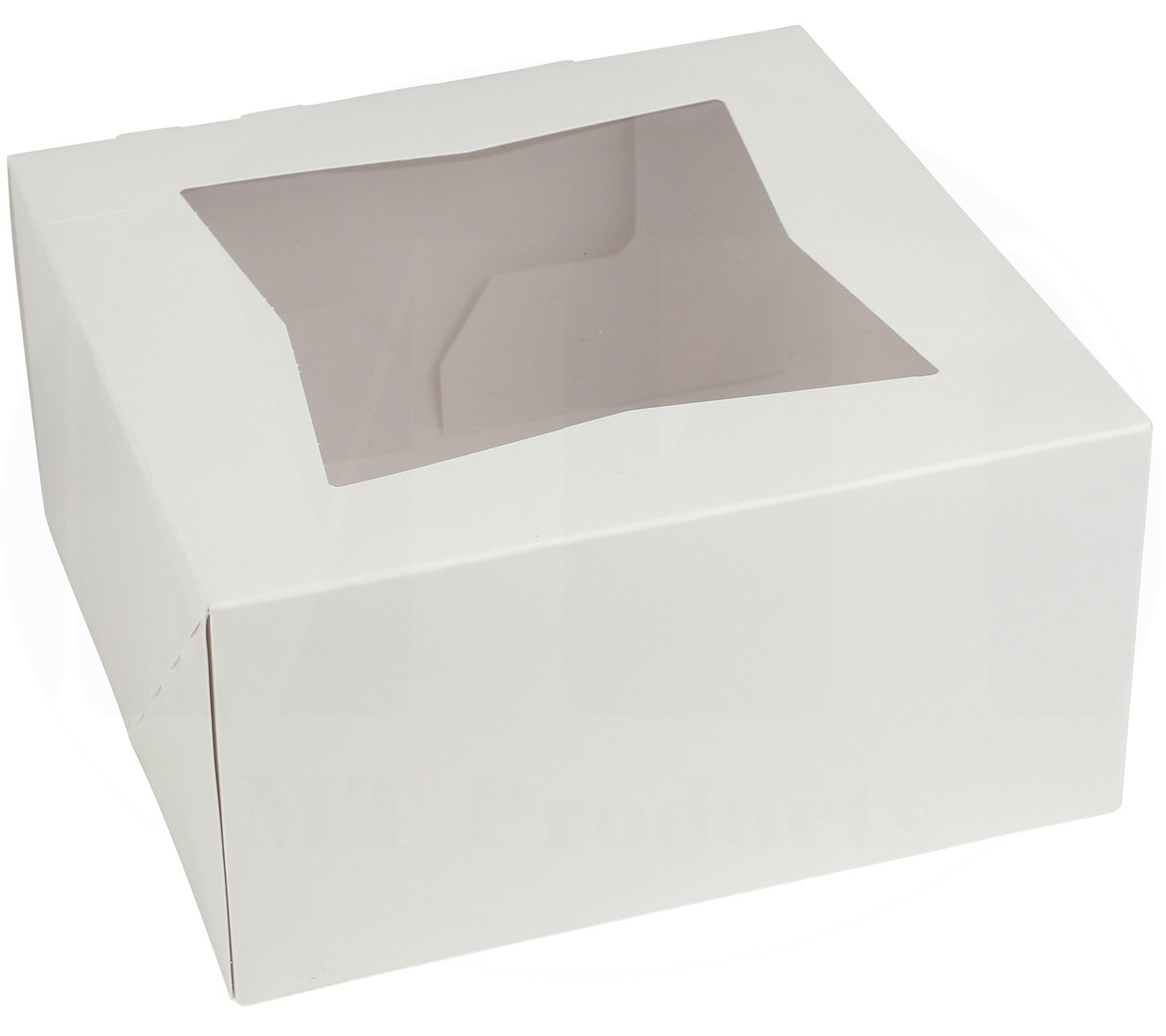 6'' Length x 6'' Width x 3'' Height White Paperboard Auto-Popup Window Small Pie/Bakery Box by MT Products (Pack of 15)