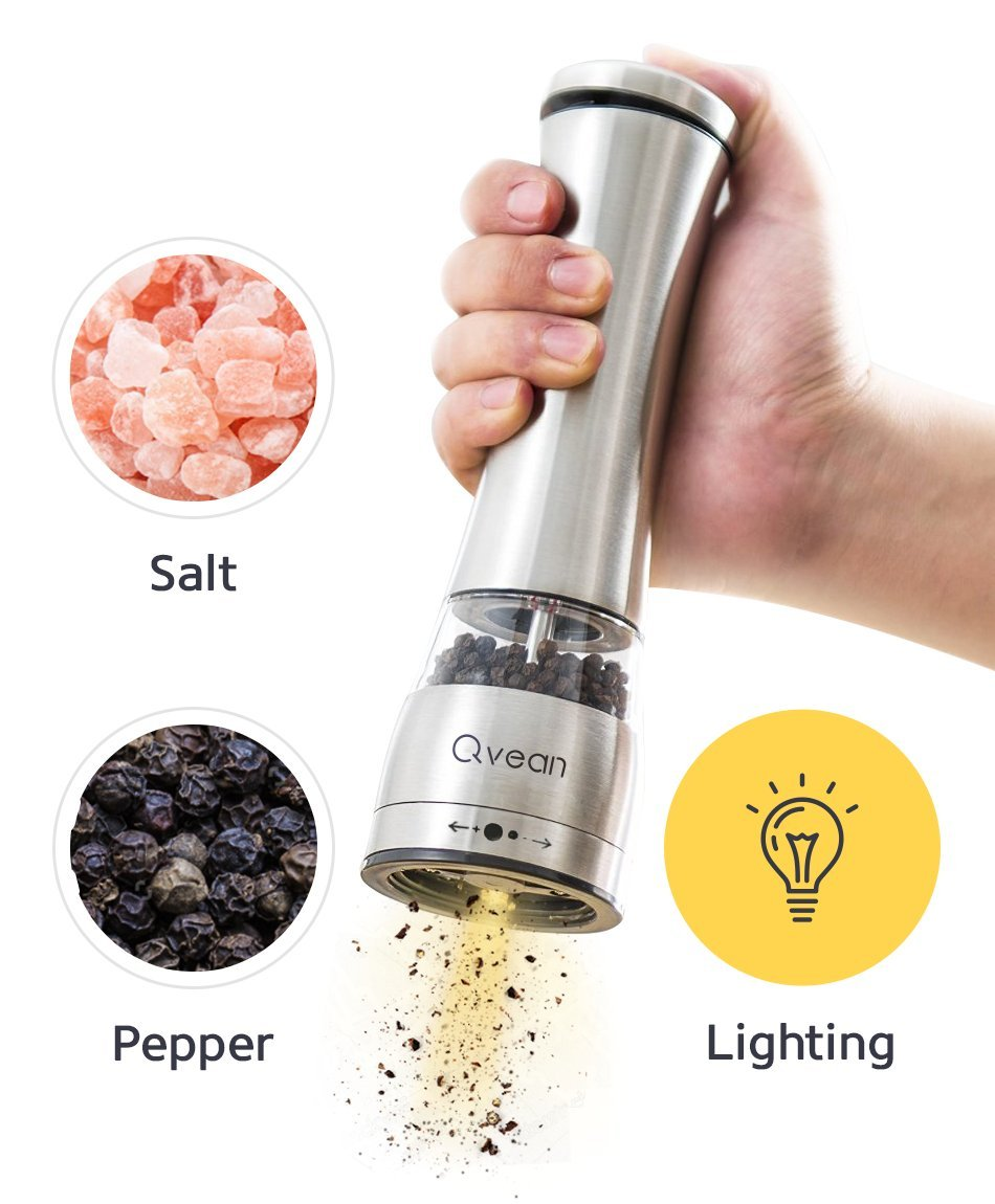 Qvean Electric Pepper Grinder With Light For Salt and Pepper Electric Mill With One Hand Automatic Operation