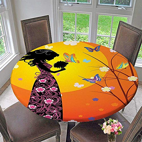 Mikihome Picnic Circle Table Cloths Decor Flowers Butterflies and Silhouette of Girl in Floral Dress with Bouquet Fantasy for Family Dinners or Gatherings 47.5