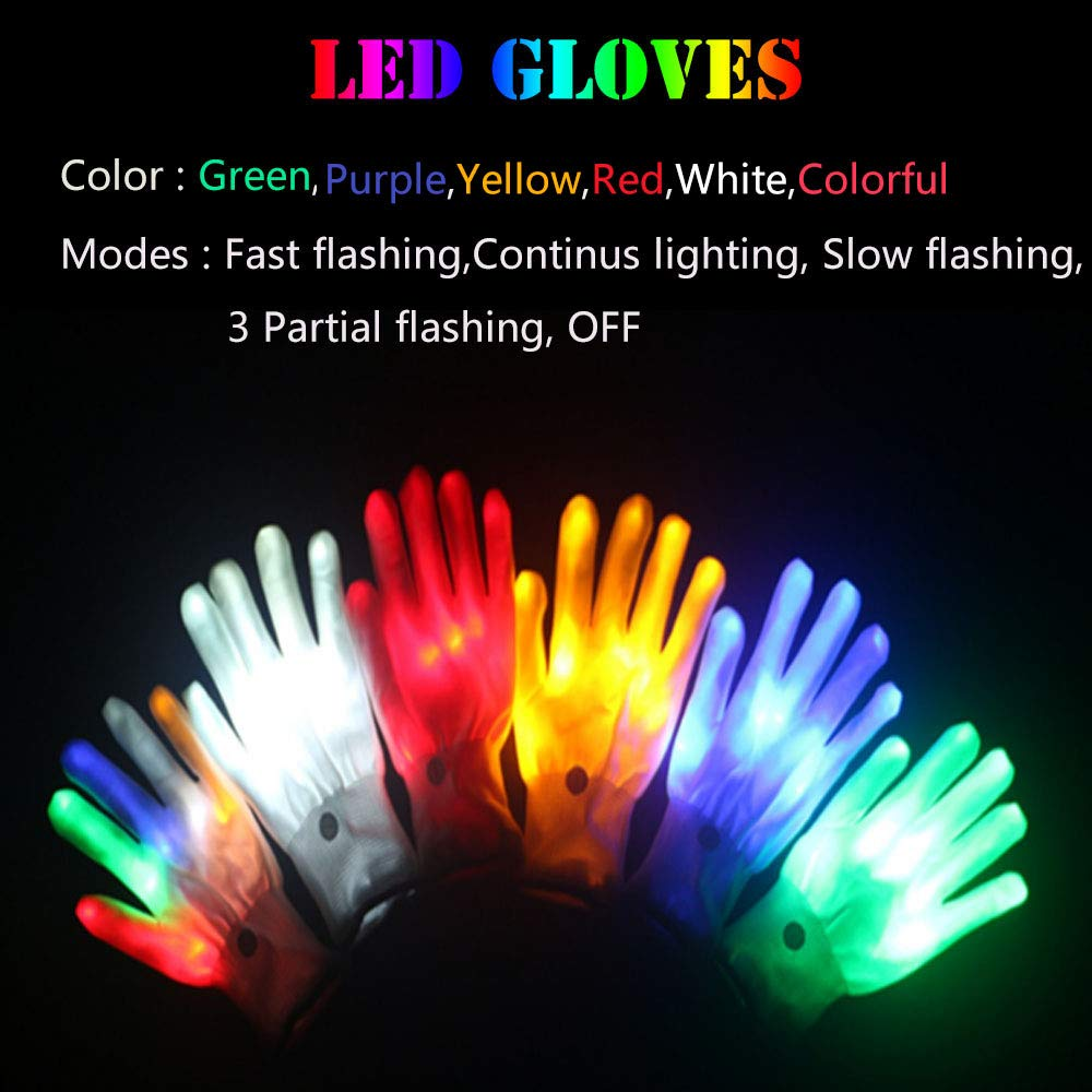 Blue Lychee LED Light Up Gloves 6 Adjust Modes Lights Toys Rave Gloves for Kids/&Adults Party//Light Show //Glow Party//Halloween//Christmas//Birthday Gift