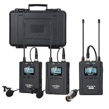 Comica CVM-WM200(A) 96-Channel Full Metal UHF Professional Wireless Dual  Lavalier Microphone System for Canon Nikon Sony Panasonic D/SLR Camera,XLR