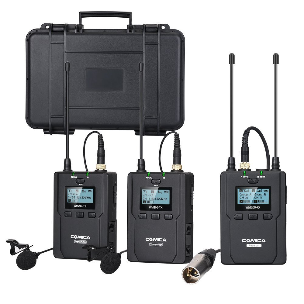 Comica CVM-WM200(A) 96-Channel Full Metal UHF Professional Wireless Dual Lavalier Microphone System for Canon Nikon Sony Panasonic D/SLR Camera,XLR camcorder & Smartphone (394-Foot Range)(2TX+1RX)