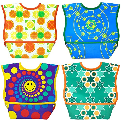 Pockets Mouth - Dex Baby Dura-bib Big Mouth- 4 Pack (Fruit, Happy, Map, Stars) 6-24 Month