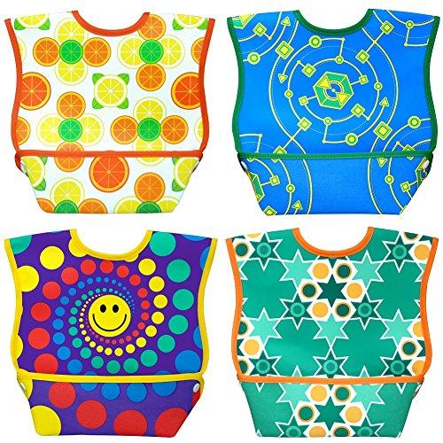 Dex Baby Dura-bib Big Mouth- 4 Pack (Fruit, Happy, Map, Stars) 6-24 Month
