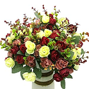 Grunyia Artificial Fake Flowers Silk Tiny Rose Flowers Wedding Bridal Bouquet Home Decoration,Pack of 4 49