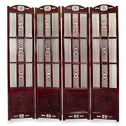 ChinaFurnitureOnline Rosewood Floor Screen, Hand Crafted 71 Inches High Four Season Flower Motif Intaglio Room Divider Dark Cherry Finish