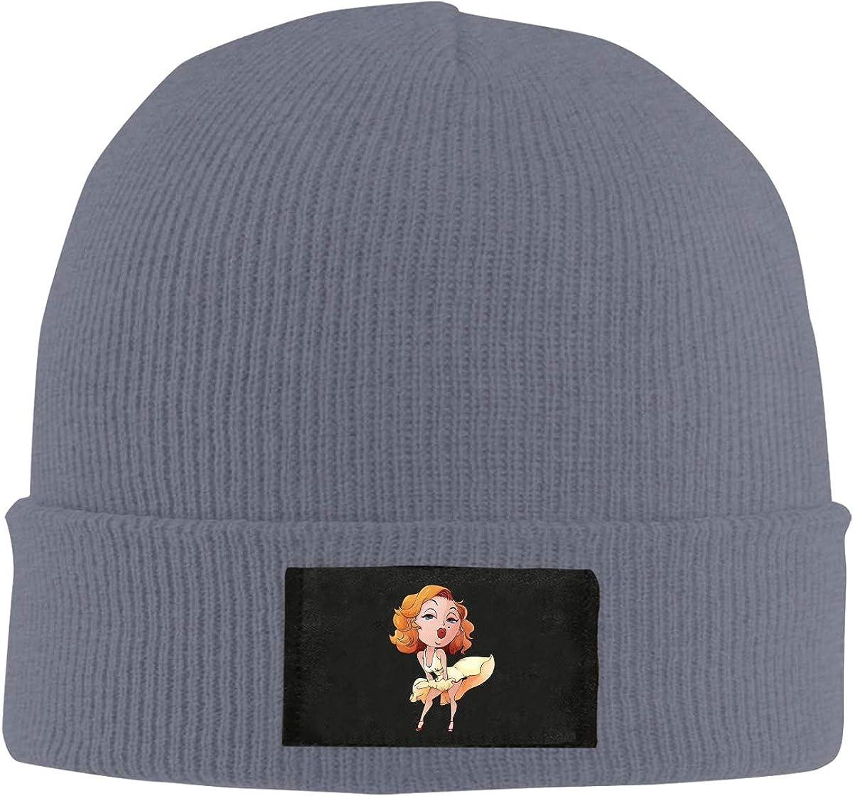 Unisex 3D Print Marilyn Monroe Skull Cap Knit Wool Beanie Hat Stretchy Solid Daily Wear