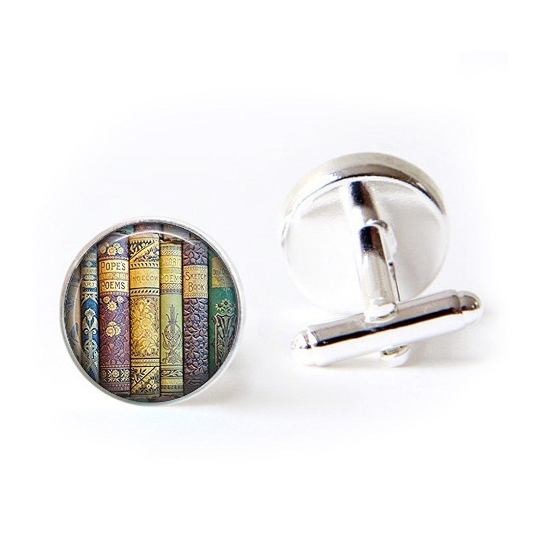 Unique Round Cufflinks Set Book Pendant Love Literary Bookworm Glass Cuff Dress Shirt Links Wedding Business Anniversary Gift for Him
