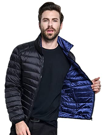 5f511d0da5 Wenseny Mens Puffer Jacket Double-Sided Wear Lightweight Winter Packable Down  Jacket Black Blue Small