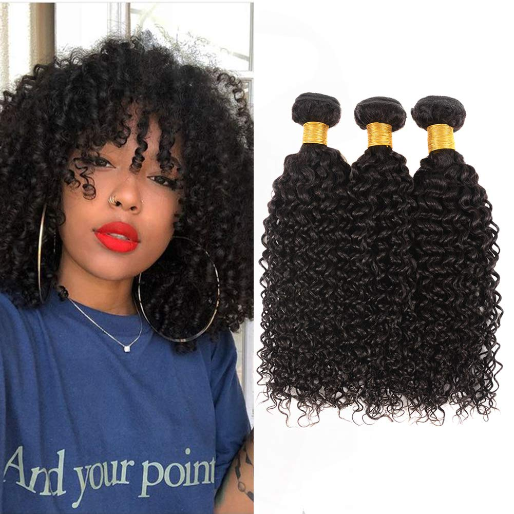Amazon Com Huarisi Peruvian Kinky Curly Hair 3 Bundles 10 12 14 Inch 10a Human Hair Weave Kinkys Curly Virgin Hair Extensions Natural Black Color Sew In Weft For Full Head Beauty