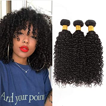 Huarisi Peruvian Kinky Curly Hair 3 Bundles 10 12 14 Inch 10a Human Hair Weave Kinkys Curly Virgin Hair Extensions Natural Black Color Sew In Weft For