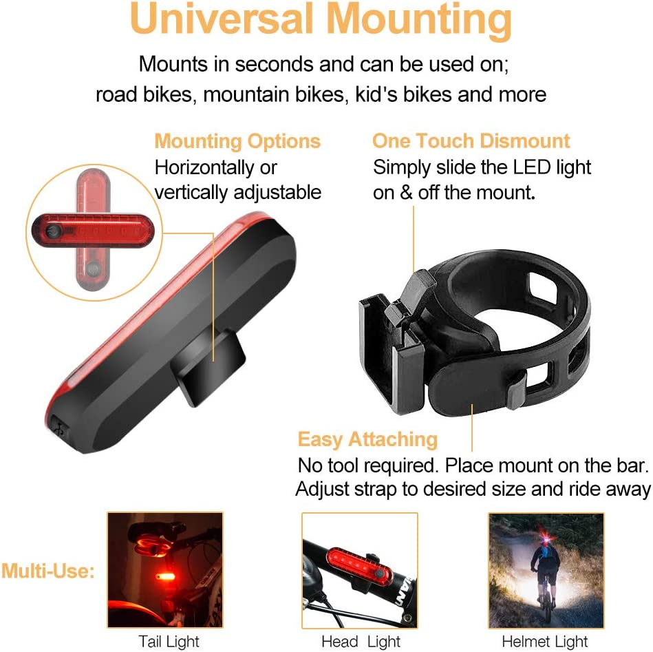 N N.ORANIE Super Bright Bike Tail Light USB Rechargeable 2 Pack 4 Light Mode Options 2 USB Cables Included Highlight Waterproof Bicycle Taillights Accessories Warning Lights