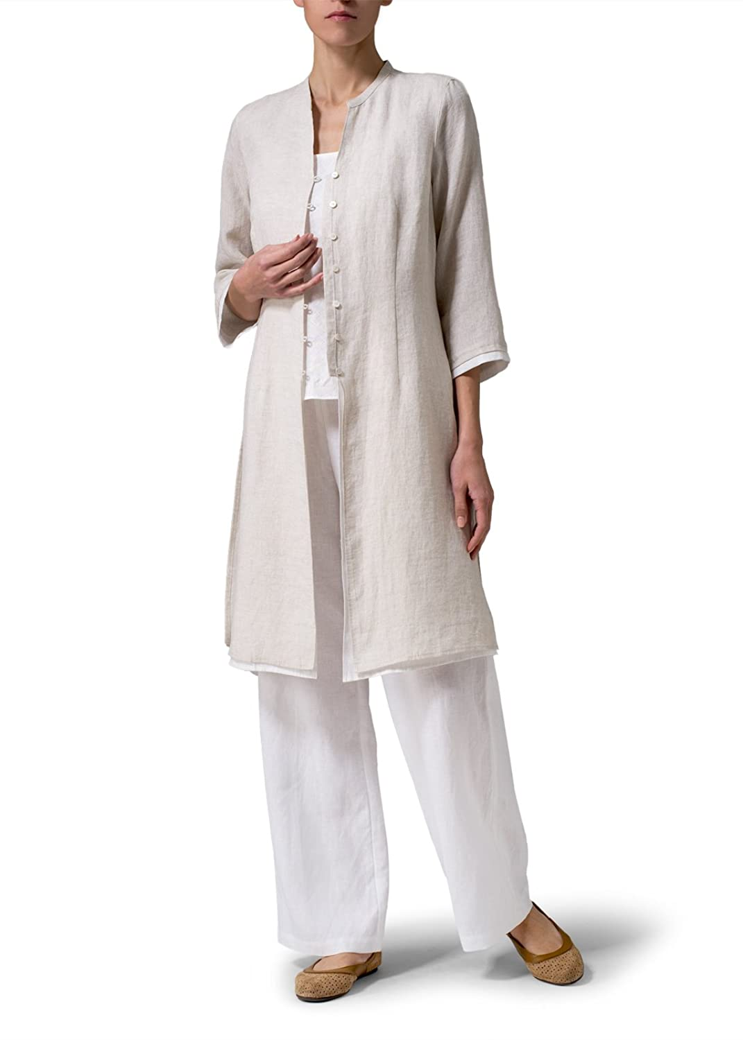 Vivid Linen Double Layers Long Top