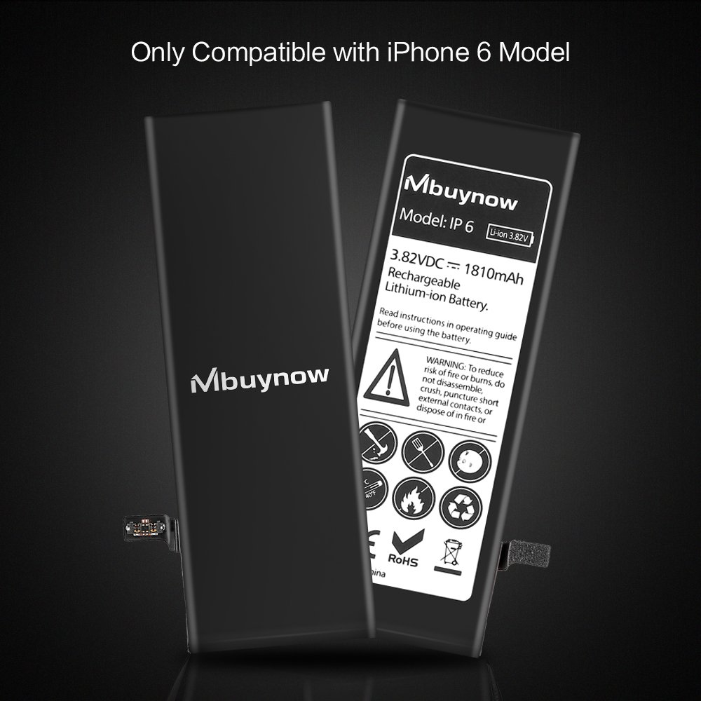 Mbuynow iPhone 6 Battery Replacement, Complete Repair Kit with Tools and Instructions High Capacity (1810mAh) New 0 Cycle