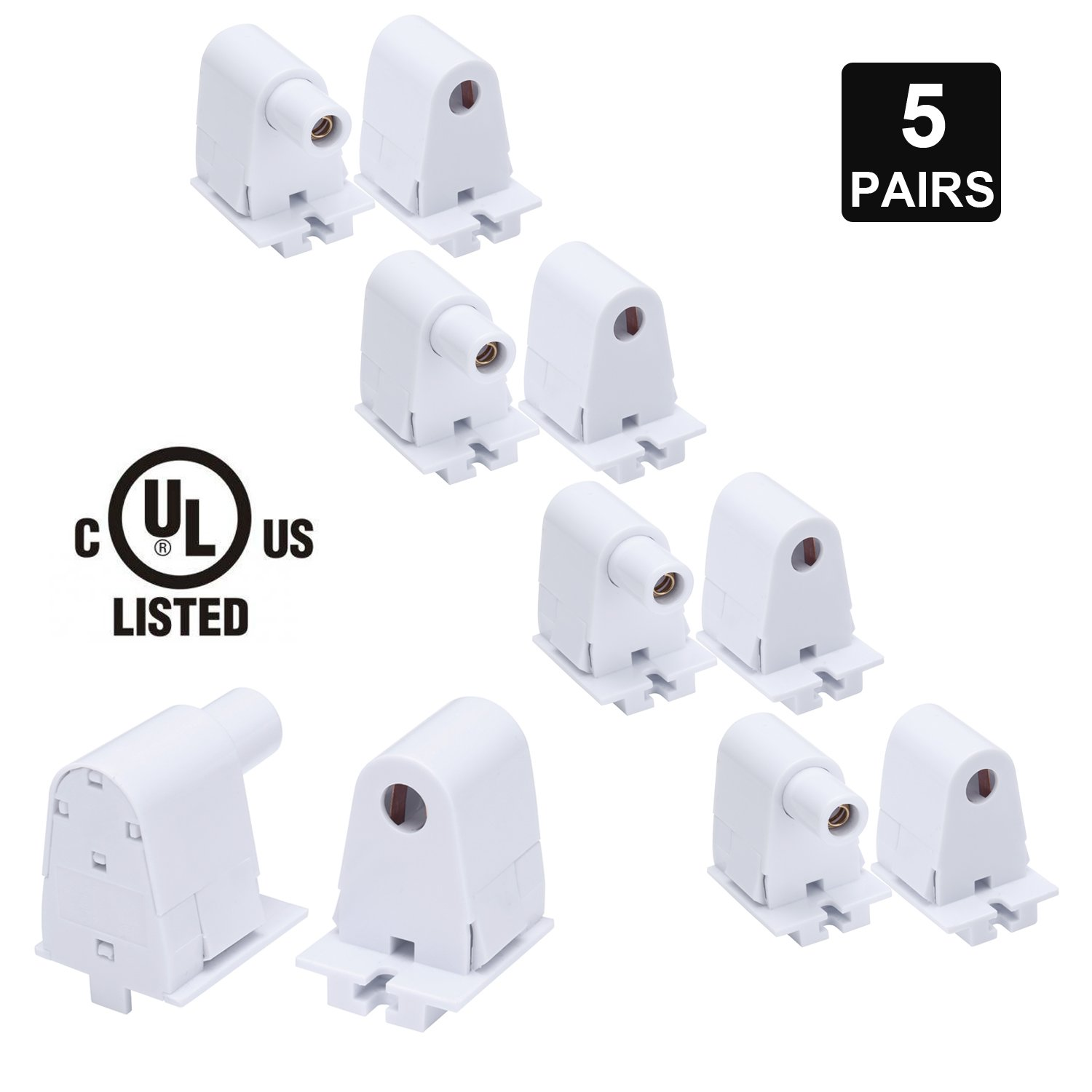JOMITOP 5 Pairs Tombstone Base Holder Socket Connector with T8 Single Pin FA8 8ft LED Bulb Light Replacement Fluorescent Plunger by Jomitop