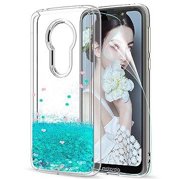 2aba1f6eadd LeYi Funda Motorola Moto G7 Play Silicona Purpurina Carcasa con HD  Protectores de Pantalla,Transparente Cristal Bumper Telefono Gel TPU Fundas  Case Cover ...