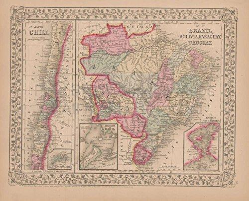 (Chili Brazil Antique Map Mitchell 1868 Original Brazilian Home Decor History Ancestry Heritage Gift )