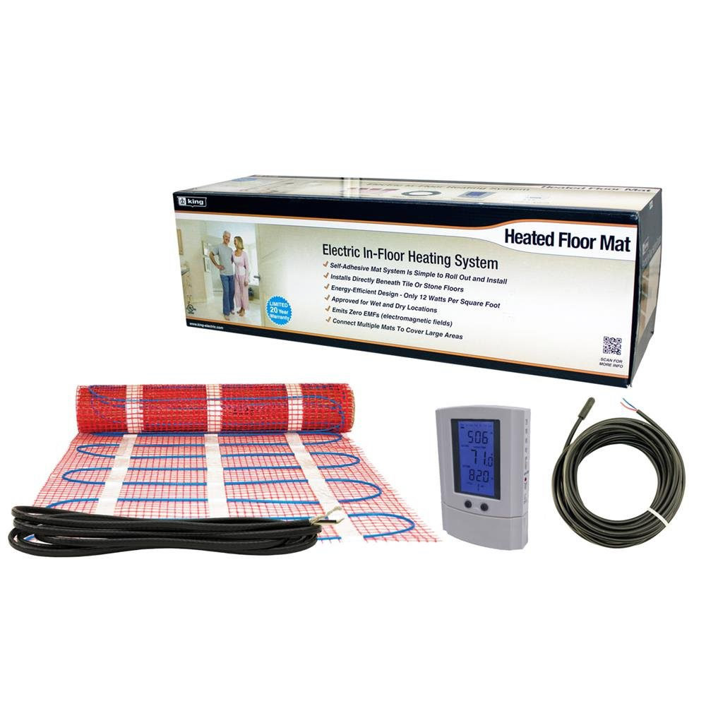 King Electric FCM1-20T 120-volt Electric in Floor Heating Mat 20 Square Feet with Stat