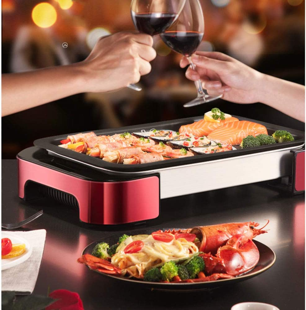 JZH-Wine set Barbecue Électrique De Table en Acier Inoxydable Puissance De 1000W pour Balcon, Jardin, L'intérieur Régulateur De Température avec 5 Niveaux Pink