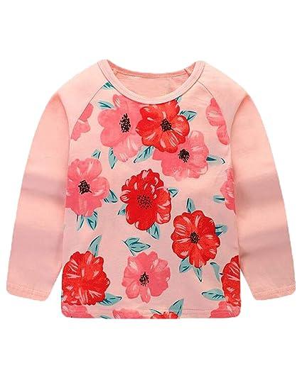 c1f1b816 Mengmeng Long Sleeve T-Shirt for Girls Toddler Kids Clothes Baby Girls  Cartoon Print Autumn