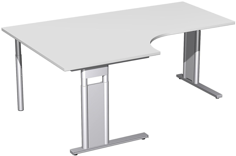 Geramöbel PC-Schreibtisch links höhenverstellbar, C Fuß Blende optional, 1800x1200x680-820, Lichtgrau/Silber