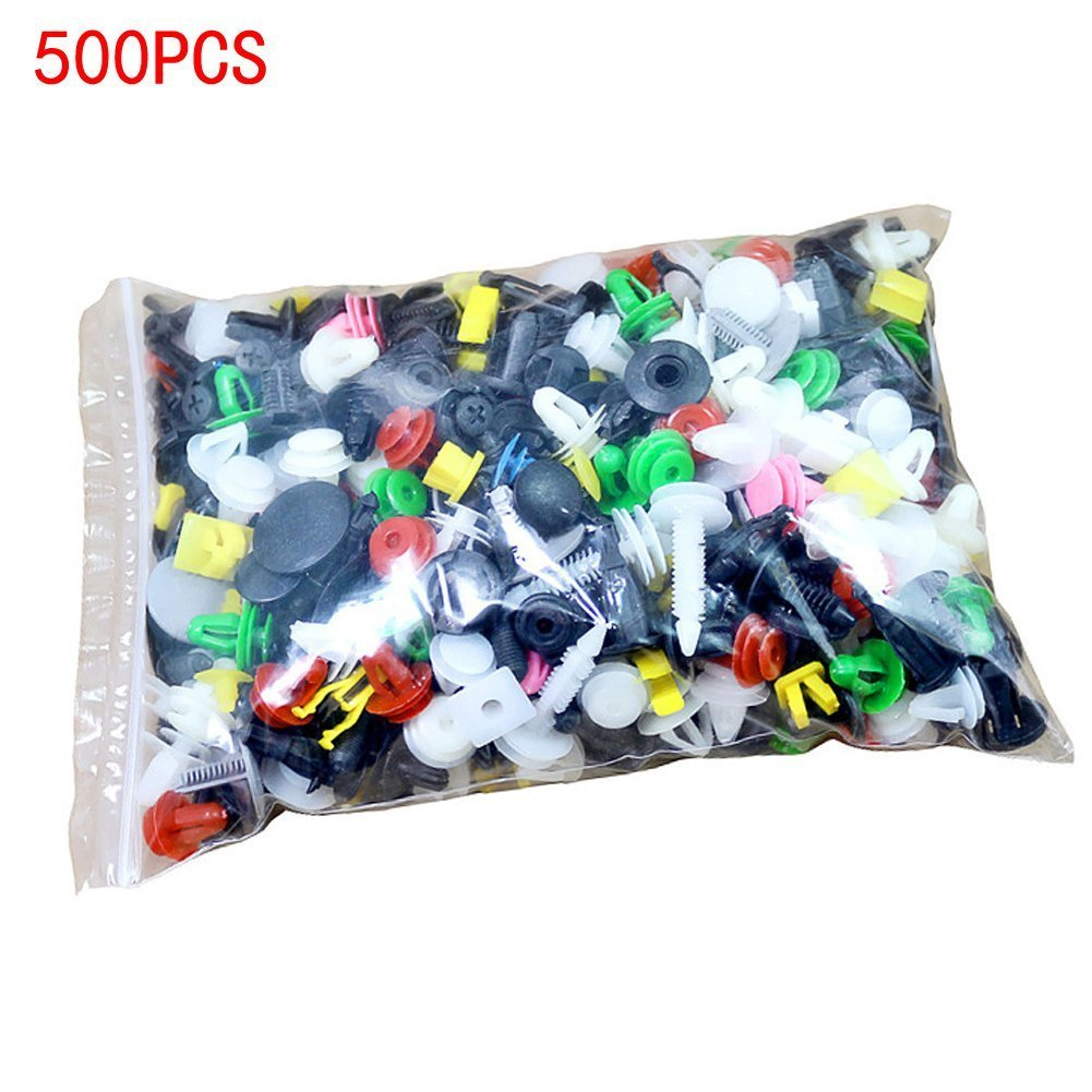 CNIKESIN 500PCS Car Mixed Universal Door Trim Panel Clips Fasteners Auto Bumper Rivet Retainer Push Engine Cover Fender Fastener Clips
