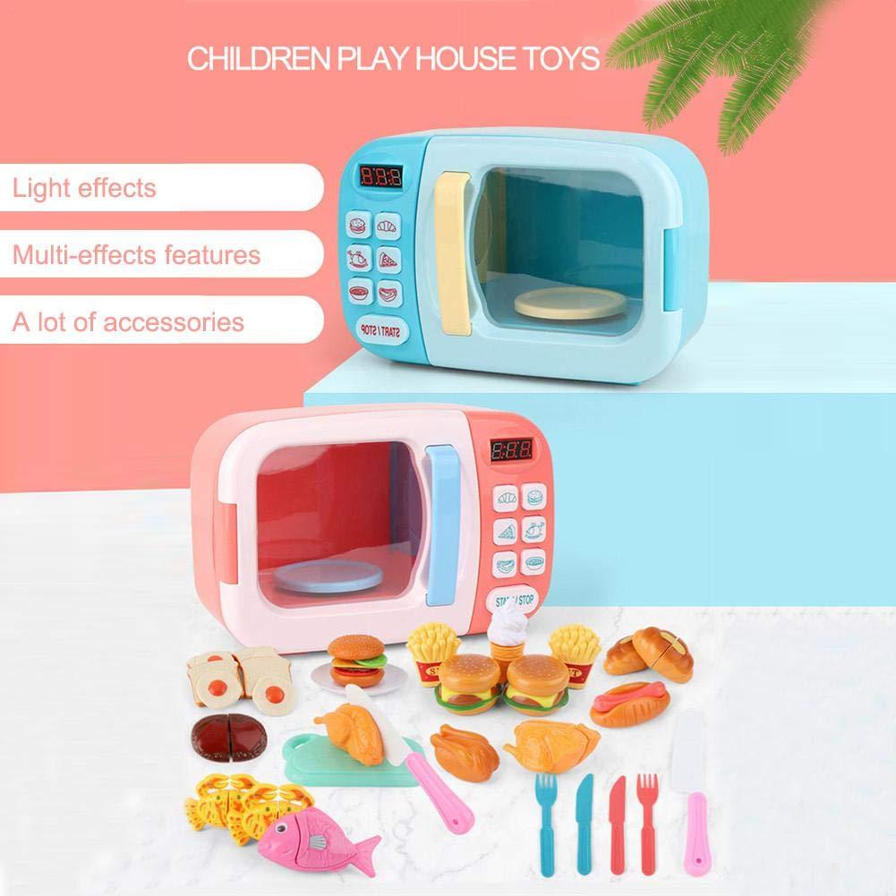 Microondas de Juguete con luz y Sonido 28PCS con alimentos falsos incluidos,Juego de microondas de cocina Toy Kitchen,juegos de simulación para niños ...