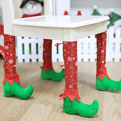 seaskyer 4pcs christmas table chair leg covers socks santa claus feet boots shoes legs party decorations - Decorated Christmas Tables Parties