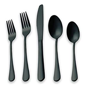 HOMQUEN Black Flatware Set 20 Piece Service for 4, Black Titanium Plated Stainless Steel Silverware set Service for 4 (Shiny, Black)