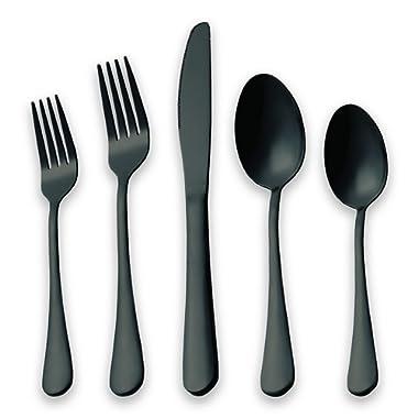 HOMQUEN 20-Piece Silverware Set Service for 4, Stainless Steel Knives Forks Spoons Cutlery Set, Black Titanium Tableware Set Dishwasher Safe(Black)